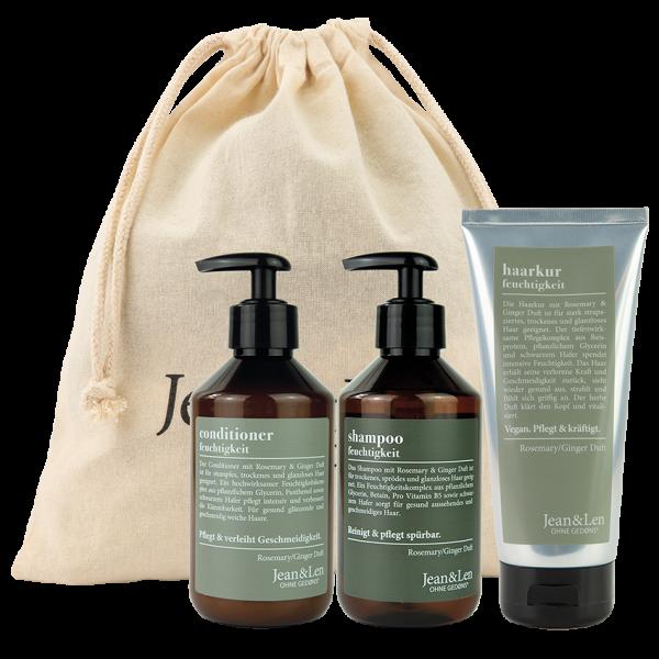 Haarpflegeset Rosemary/Ginger Shampoo, Conditioner + Kur, 800 ml