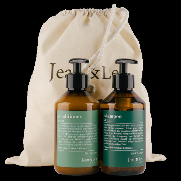 Haarpflege Set Detox Shampoo & Conditioner je 300 ml Black Tea Mate Moringasamen Reisprotein Panthenol Sesamöl vegan ohne Silikone ohne Parabene