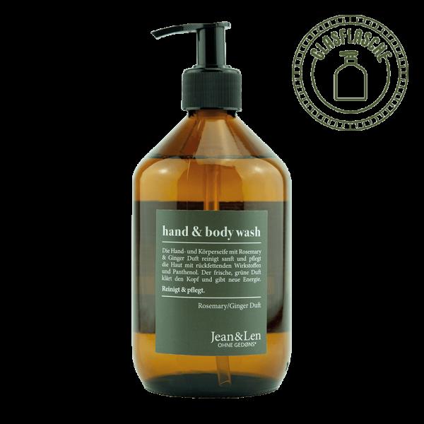 Hand & Body Wash Rosemary/Ginger Glass Bottle, 500 ml
