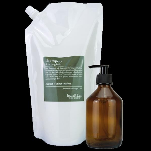 Shampoo Nachfüllpack mit Glasflasche Rosemary/Ginger Feuchtigkeit, 0,9 L