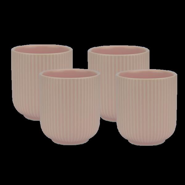 Porzellanbecher rosa 4er Set