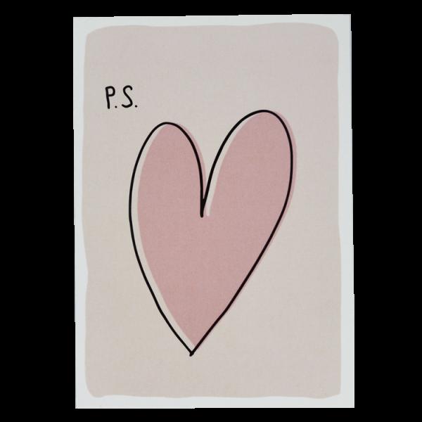 Postkarte P.S. Herz