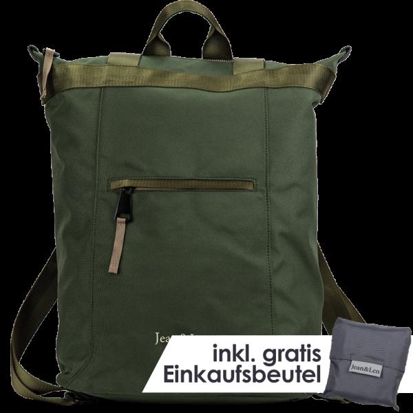 """Rucksack """"Hamburg"""" khaki mit Einkaufstasche"""