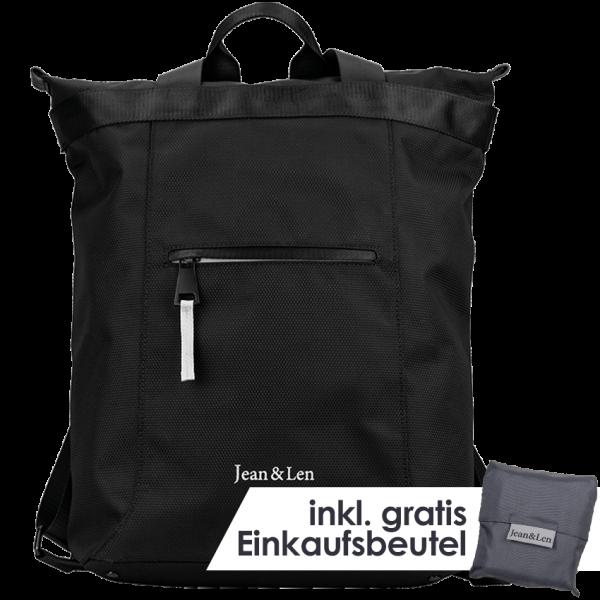 """Rucksack """"Hamburg"""" black mit Einkaufstasche"""