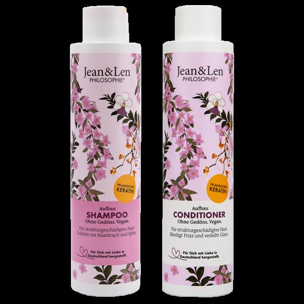 Haarpflegeset Aufbau Shampoo & Conditioner Pflanzliches Keratin