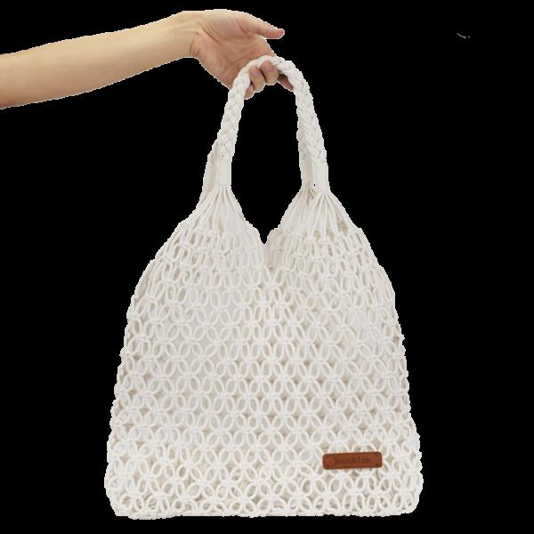 Makramee Handtasche, cremeweiß