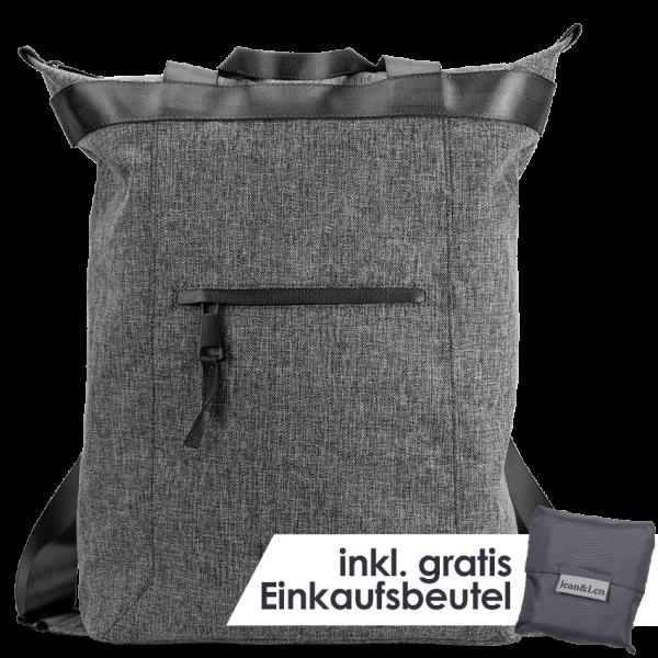 """Rucksack """"Hamburg"""" grey melange mit Einkaufstasche"""